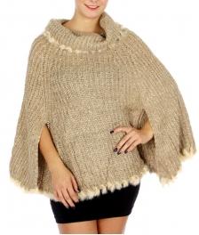 Wholesale O11D Cute Fur Trim Knit Poncho Beige