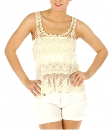 Wholesale G31 Cotton women's crochet top Natural