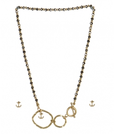 wholesale Anchor studs on loops necklace set WG/RH fashionunic