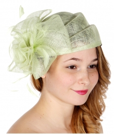 Wholesale W70-1 Rose & bow sinamay pillbox hat BABAY LIME