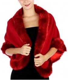 wholesale S00 faux fur trim solid wrap Red fashionunic