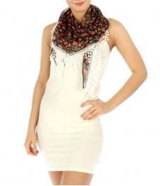Wholesale H08 Fringed floral scarf Black fashionunic