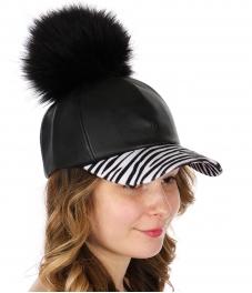 Wholesale Q51A Faux leather baseball cap w/ zebra visor & faux fur pompom BKZEB
