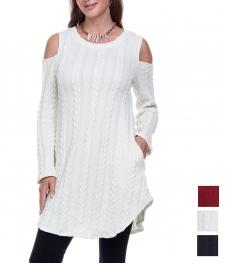 Wholesale K13D Cold shoulder curved hem knit