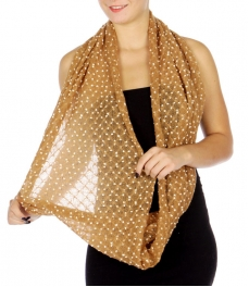 WholesaleN12C Snowflakes Translucent Infinity Scarf BE