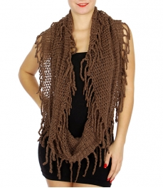 Wholesale U33C Loosely knit fringe infinity scarves assorted color Dozen
