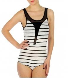 wholesale G31 Cotton mesh front V back bodysuit WH/BK