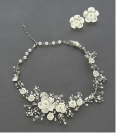 Wholesale N35 Wedding flower necklace and earring set Pearl/Silver