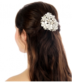 Wholesale N35 Circle white flower hair comb Silver