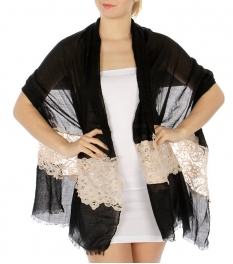 Wholesale H14 Embroidery embellished scarf Black