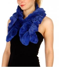Wholesale S60B Faux rabbit fur pull-trough ruffle scarf BL