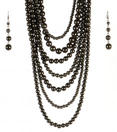 wholesale Long chunky pearl necklace set HEM fashionunic
