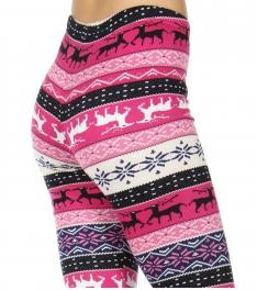 Wholesale B40D Faux fur lined print leggings Pink Snowflake