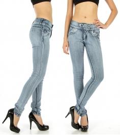 Wholesale H02 Embellished waist light denim Blue