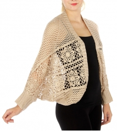 Wholesale O04 Long sleeve open knit cardigan Taupe/Cream