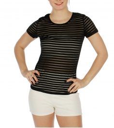 Wholesale O01C Cotton blend sheer striped top Black