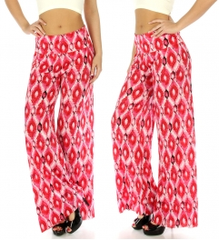 wholesale H16 Geometric palazzo pants Coral fashionunic