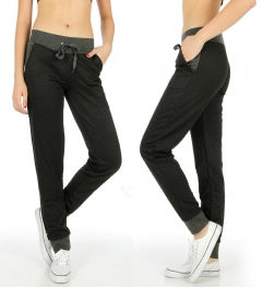 Wholesale K38 Two tone quilted pocket jogger pants