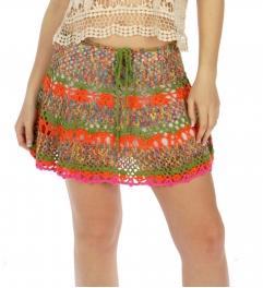 Wholesale H09 Multi color crochet skirt Orange