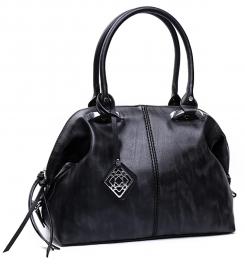 Wholesale P03E Top-zip shoulder tote handbag Black