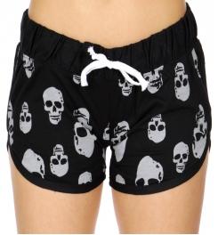 Wholesale R33C Skull print drawstring french terry shorts Black/Gray