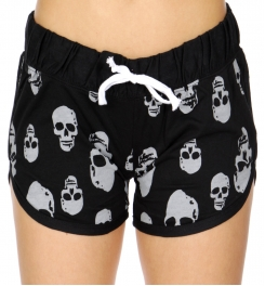 Wholesale R33C Skull print drawstring french terry shorts Black/Gray