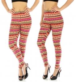 wholesale Elastic waistband leggings Geometric PP/OR XXL
