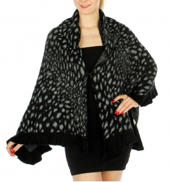 Wholesale T11B Animal Print Ruffled Trim Ribbed Shawl BK