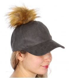 Wholesale W17 Faux suede baseball cap with fur pompom Grey