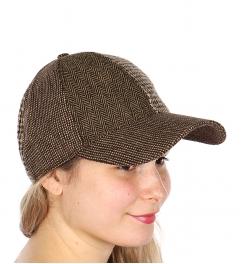Wholesale V77C Chevron wool blend baseball cap Brown