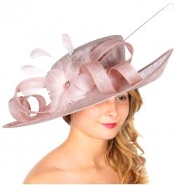 wholesale BX60 Sinamay w/ loops n flower dress hat Pink
