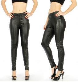 {[en]:wholesale Faux leather leggings Black Style