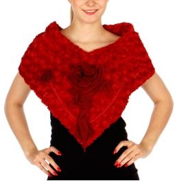 Wholesale P39D Faux Fur Triangle Infinity  w/ Big Rose Corsage RD