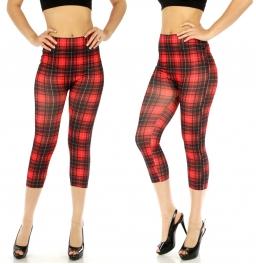 wholesale Cotton blend capri leggings Plaid Black/Red