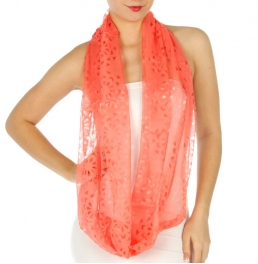 wholesale H34 Laser cut solid infinity scarf Coral