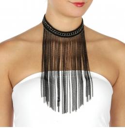 Wholesale L36D Chained choker drop necklace BK