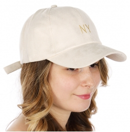 Wholesale R10C NY Faux suede baseball cap BEG