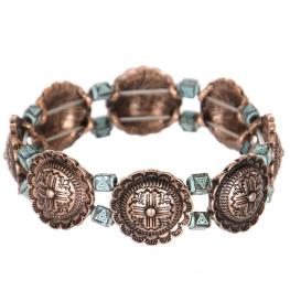 Wholesale L27D Carved flower & triangle metal stretch bracelet CB