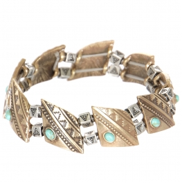 Wholesale L23D Turquoise tribal geometric metal stretch bracelet GB
