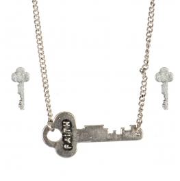 Wholesale WA00 Key pendant necklace set Faith 2 SB