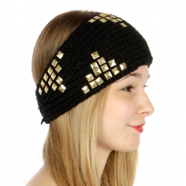 wholesale G21 Pyramid studded knit ear warmers Black