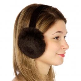 wholesale Sheared rabbit ear muffs Brown fashionunic