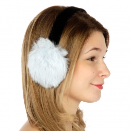 wholesale N08 Long hair rabbit fur earmuffs Powder Blue