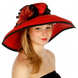 wholesale O50 Floral paper hat Red fashionunic