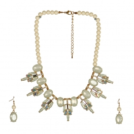wholesale N38 Beaded crystal gem necklace set Clear