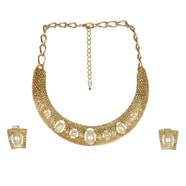 wholesale N31 LC7095G-1 Gold necklace and earrings set