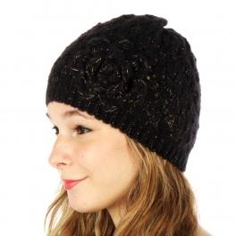 wholesale F06BX3 Flower Vent Knit Beanie Black
