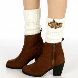 wholesale O26 Bead flower patch knit leg warmers Ivory/Gold