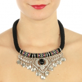 wholesale N45 Fabric and metal w /laced necklace Silver