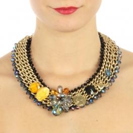 wholesale N50 Beaded w/chain necklace Black fashionunic